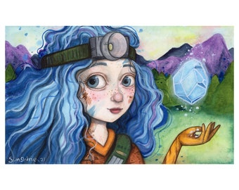 Blue Haired Geologist Girl - DND Character, Book Character, watercolour Illustration Print