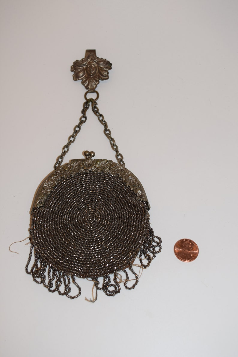 Vintage Chatelaine Steel Bead and Suede Coin Purse