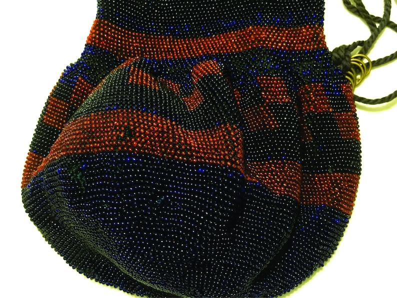 Vintage Glass Micro Bead Crochet Drawstring Purse Bag