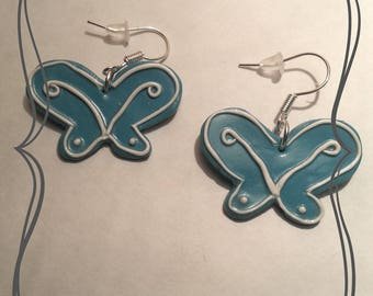Small blue and White Butterfly earring