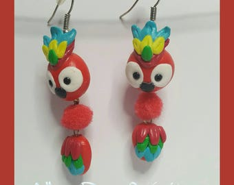 """Earrings in polymer clay """"colorful parrot"""""""