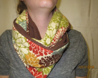 Fall Colored Floral Infinity Scarf