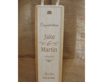 Wooden Engraved Winebox - a personalised / personalized wedding present