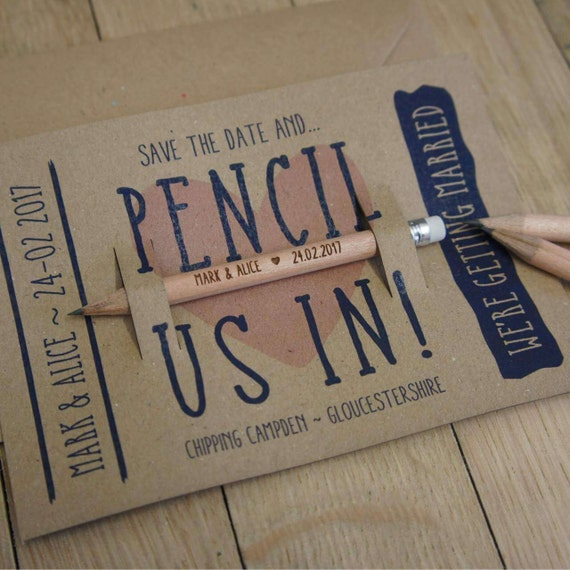 Laser Engraved Wooden Round Mini Pencils with Erasers Weddings Save the Date