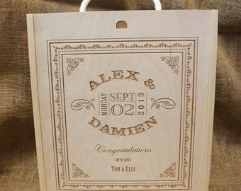 Wooden Engraved Triple Winebox  - a personalised / personalized wedding present