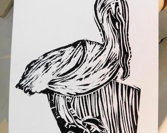 Pelican (closed beak) lino cut print
