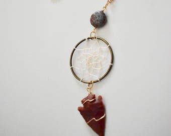 Orbicular JASPER Dreamcatcher and ARROWHEAD Necklace