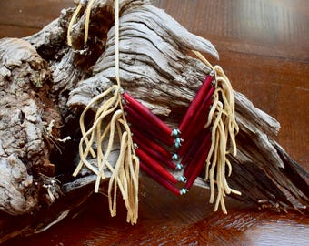 Native American Inspired RED Bone Breastplate Necklace