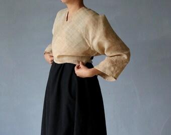 SASAKI-CHIHO/Chinese vintage hemp wrap top/minority tribe traditional clothing/beige brown/China/cardigan/wrap blouse/long sleeves/136