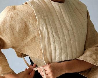 SASAKI-CHIHO/Japanese antique cotton remade top/tie vest/handmade/Japan/ecru white natural/quilting/134