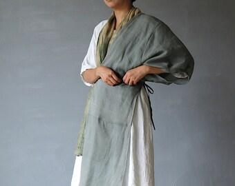 SASAKI-CHIHO/Japanese antique linen half tie long top/Japan 1900's fabric kimono/remake/remade/vest/gray/132