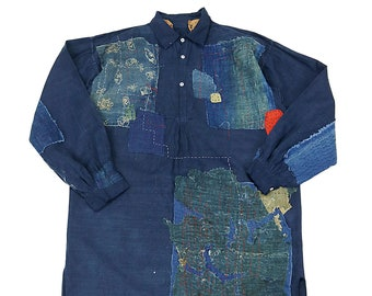 MITSUGU SASAKI/French antique linen patchwork pullover smock shirt with Japanese Boro/France/patched repaired/indigo blue red/handwork/053