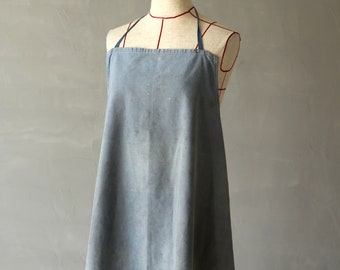 German vintage faded gray work apron/Germany 1960's/cotton/073