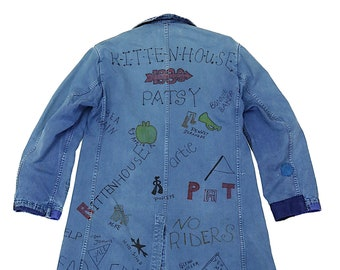 MITSUGU SASAKI/French vintage patchwork autographed blue work coat/cotton/France 1960's/autograph/sashiko/hand stitched/chore coat/109