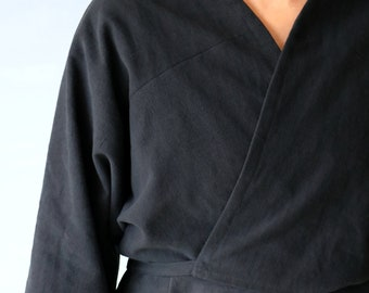 SASAKI-CHIHO/French antique linen wrap top/minority tribe traditional clothing/black/France/cardigan/wrap blouse/over dyed/long sleeves/135