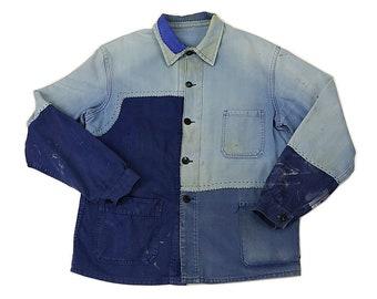 MITSUGU SASAKI/French vintage patchwork blue work jacket/cotton/France 1960's/large/black thread/sashiko/handwork/hand stitched/071