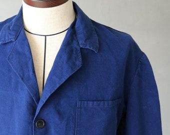 Italian vintage blue cotton work jacket/Italy/1950s/cotton/chore jacket/blue/132