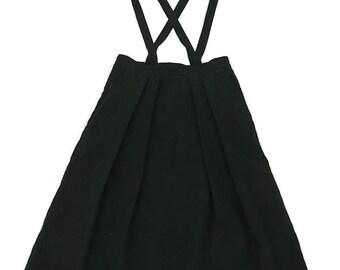 Antique linen black jumper-skirt/remade/French linen/handmade/black linen/long skirt/510