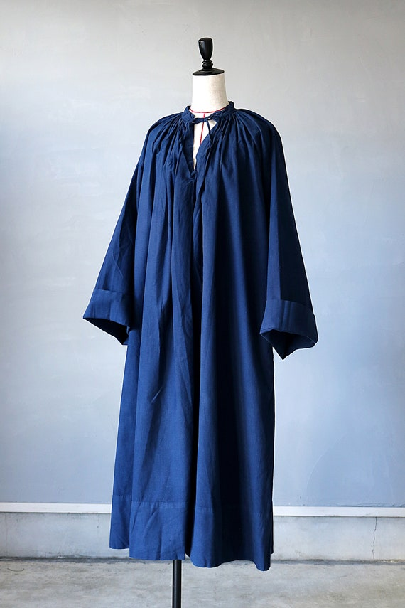 French antique cotton long robe/France/1940's 195… - image 2