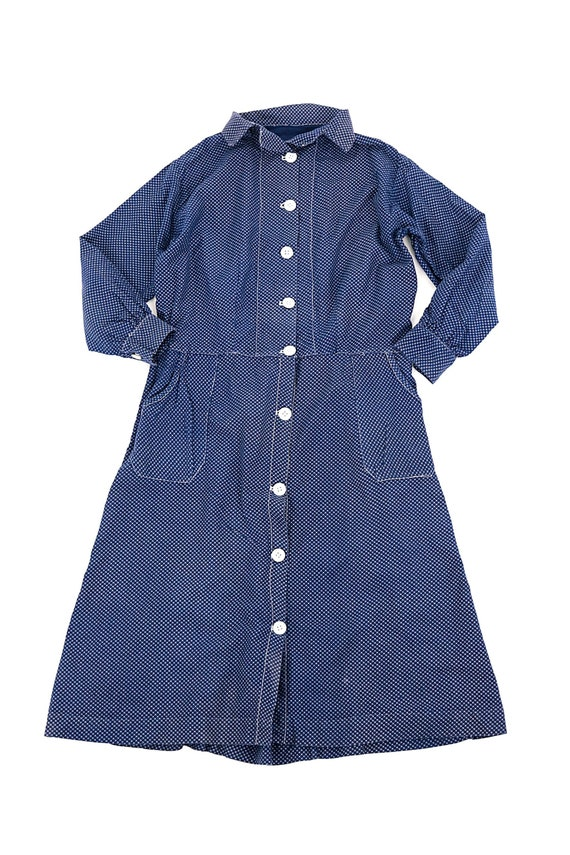 French vintage indigo blue work dress/France 1920'