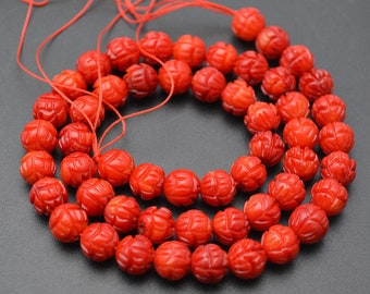 8mm Red Sea Bamboo Coral Carved Lotus Round Loose Beads