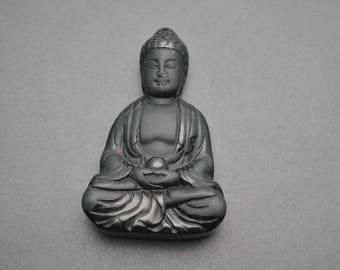 Natural Black Buddhist Carved Buddha Tathagata sit in Meditation Stone Pendant