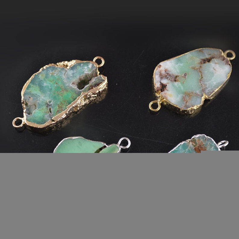 1pc Two loops on side Natural Green Australia Jade Freeform Stone Slice Pendant Links Jewelry Connectors Suppliers