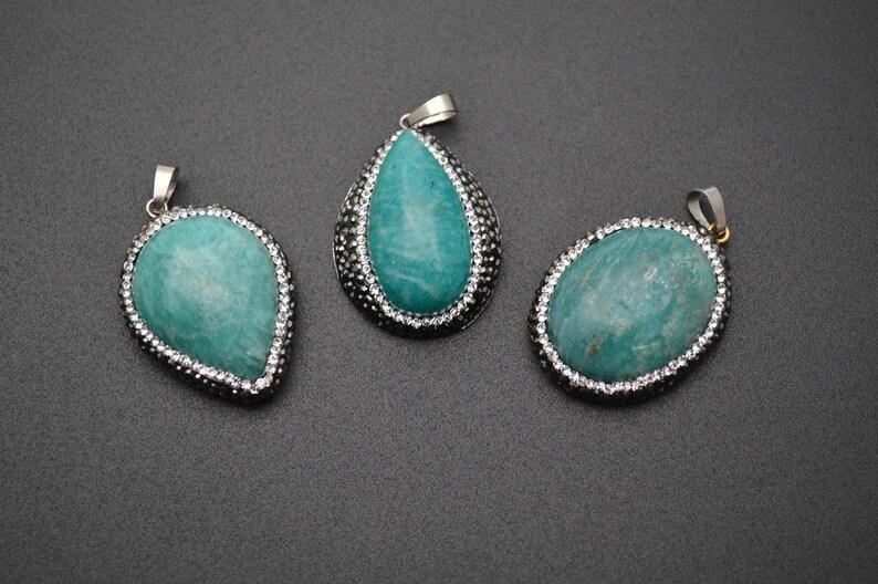 1pc Natural 30~40mm Amazonite Cabochon Stone Pendant Paved Black Crystal beads around Fashion jewelry making materials
