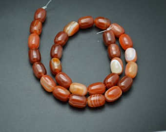 1 strand 10x14mm Banded Red Carnelian Agate Stone Barrel Tube Beads Jewelry Making Accessories