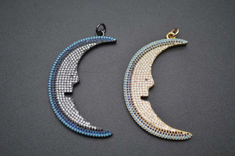 gold color  gun metal color 1pc Paved CZ Beads Moon Smile Face Big size 30x50mm Metal Pendant fit Fashion Jewelry making
