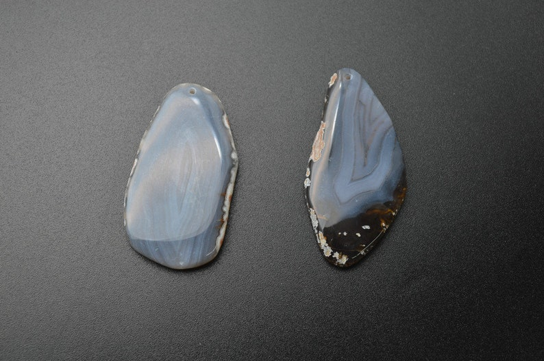 Rose Quartz  Amethyst  Gray Agate  Blue Lance Agate Natural Semi Precious Stone Freeform Slab Pendant