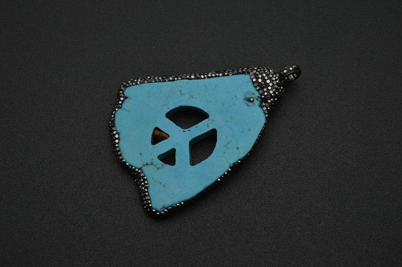 Blue Howlite Turquoise Slice Peace Symbol Stone Slab Pendant Black Glass Beads Paved Jewelry