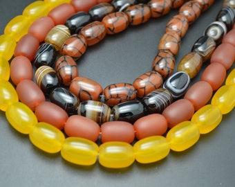 1 strand 13x18mm Beautiful Agate Stone Barrel Tube Beads 4 Styles: Matte Red / Yellow / Coffee / Dragon Veins
