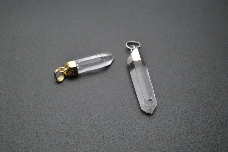 Gold plating  Silver color plating Natural Crystal Point Pillar Rough Stone Pendant
