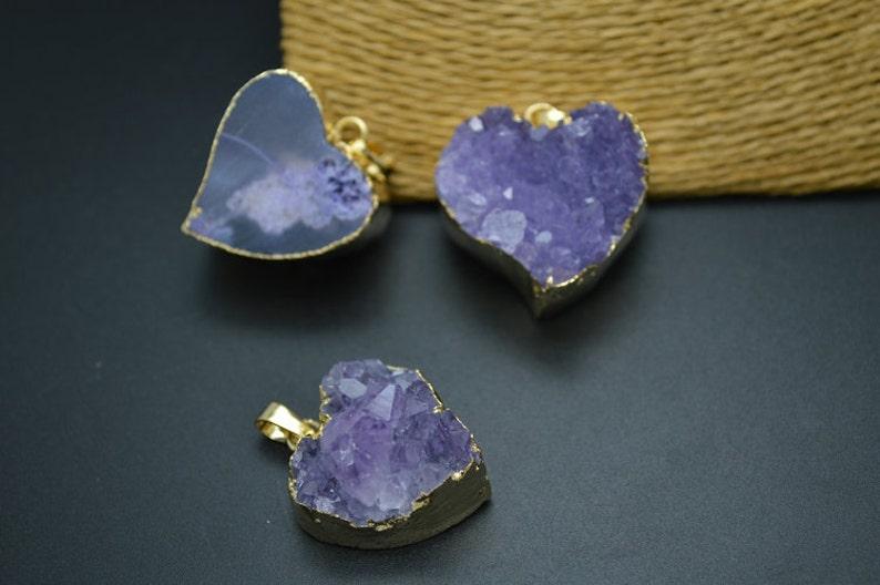 Heart Shape Natuarl Drusy Amethyst Stone Pendant Gold plating Jewelry supplies