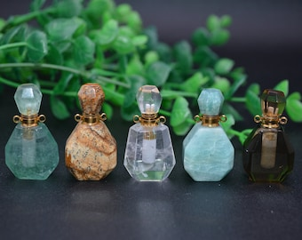 Natural Gemstone Mini Essential Oil Perfume Bottle Pendant