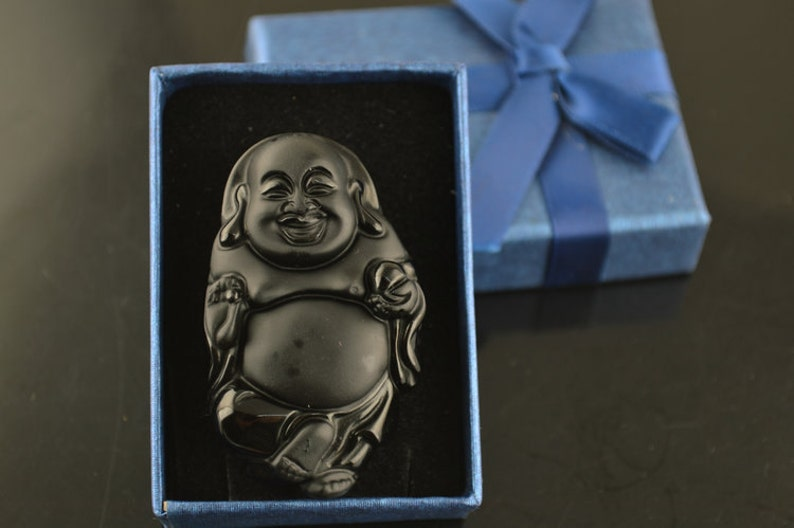 Natural Black Obsidian Carved Laughing Stand Buddha Stone Pendant