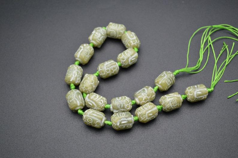 14x18mm Natural Green Hsiuyen Jade Carved Kuanyin Buddha Head Stone Loose Beads
