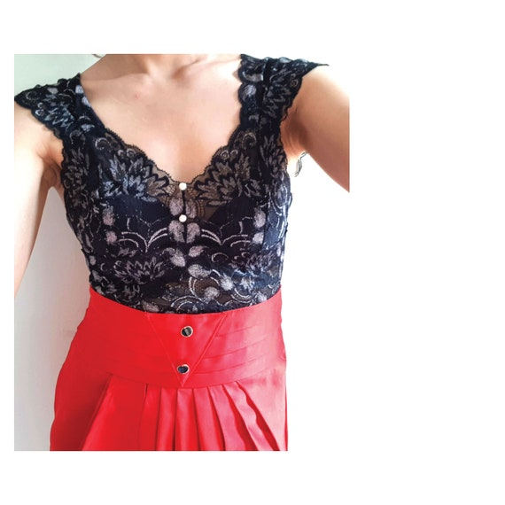 SEXY Red Vintage drape pencil skirt / high waiste… - image 3
