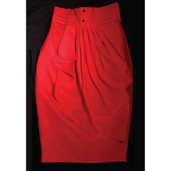 SEXY Red Vintage drape pencil skirt / high waiste… - image 1