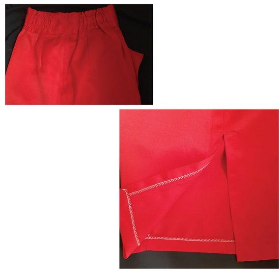SEXY Red Vintage drape pencil skirt / high waiste… - image 7