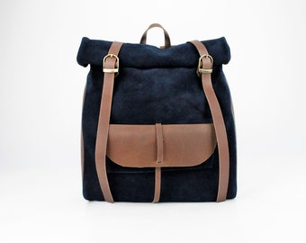 Navy Blue Suede Leather Roll Backpack with Pocket