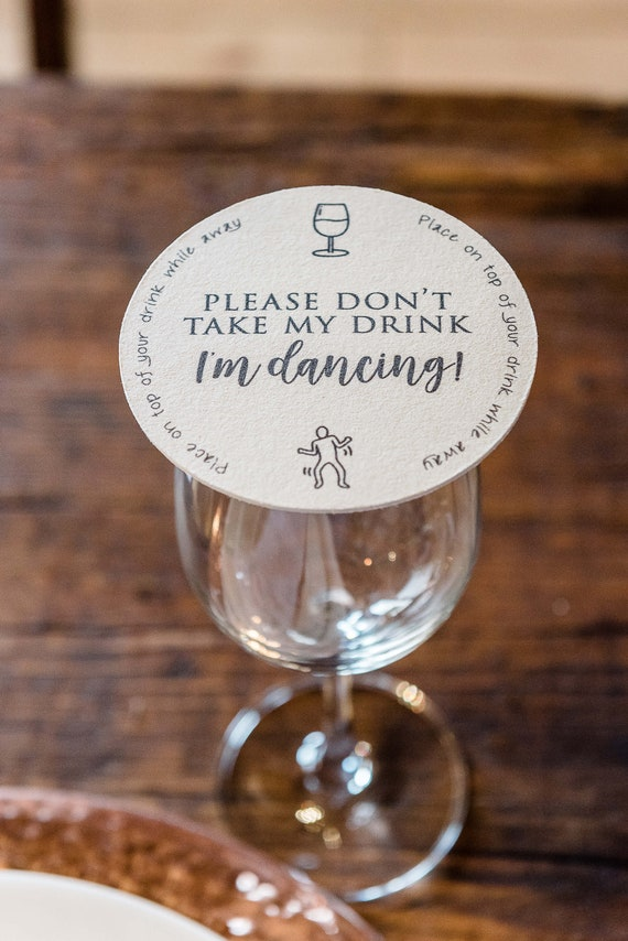 20 x WEDDING PARTY DON/'T TAKE MY DRINK I/'M DANCING  SQUARE COASTERS BEER MATS