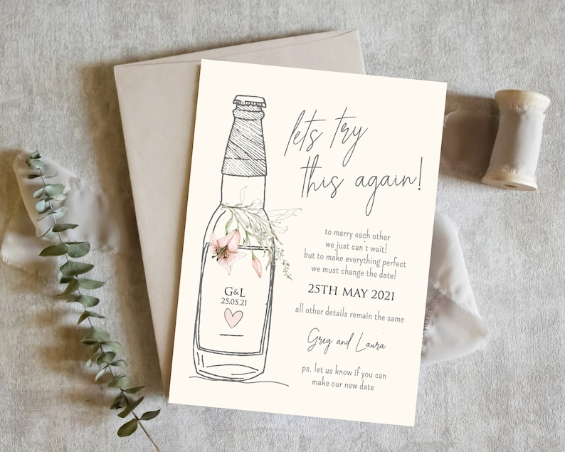 Wedding Date Change Cards Postponement Postponed Wedding Cards Bride /& Groom Change of Plan Cards Masks