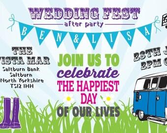 SAMPLE Bright Bunting Camper Van Wedfest Wedding Ticket Invitations!