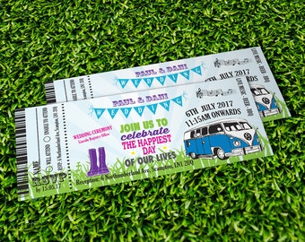 50 Bright Bunting Camper Van Wedfest Wedding Ticket Invitations!