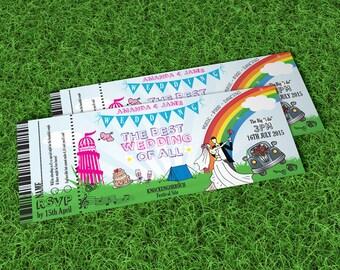 50 Bright Summer Fun Fair Wedfest Wedding Ticket Invitations Invites!