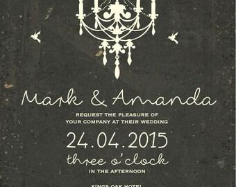 50 Old Rustic Chalk Board Chandelier Vintage candle birds Wedding Invitations!