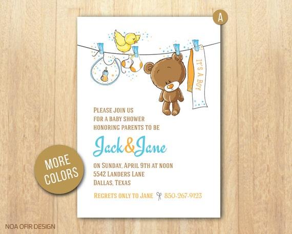 Baby Shower Invitation Baby Boy Invitation Teddy Bear Baby Etsy