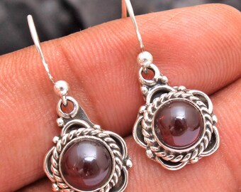925 Sterling Silver Handmade Designer Drop /& Dangle Earring Jewelry Length 1.75 Amethyst Round Shape Gemstone Earring For Gift sve5146